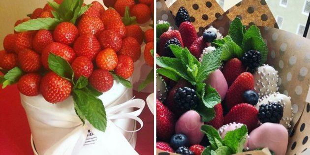 Букет из ягод или клубника в шляпной коробке