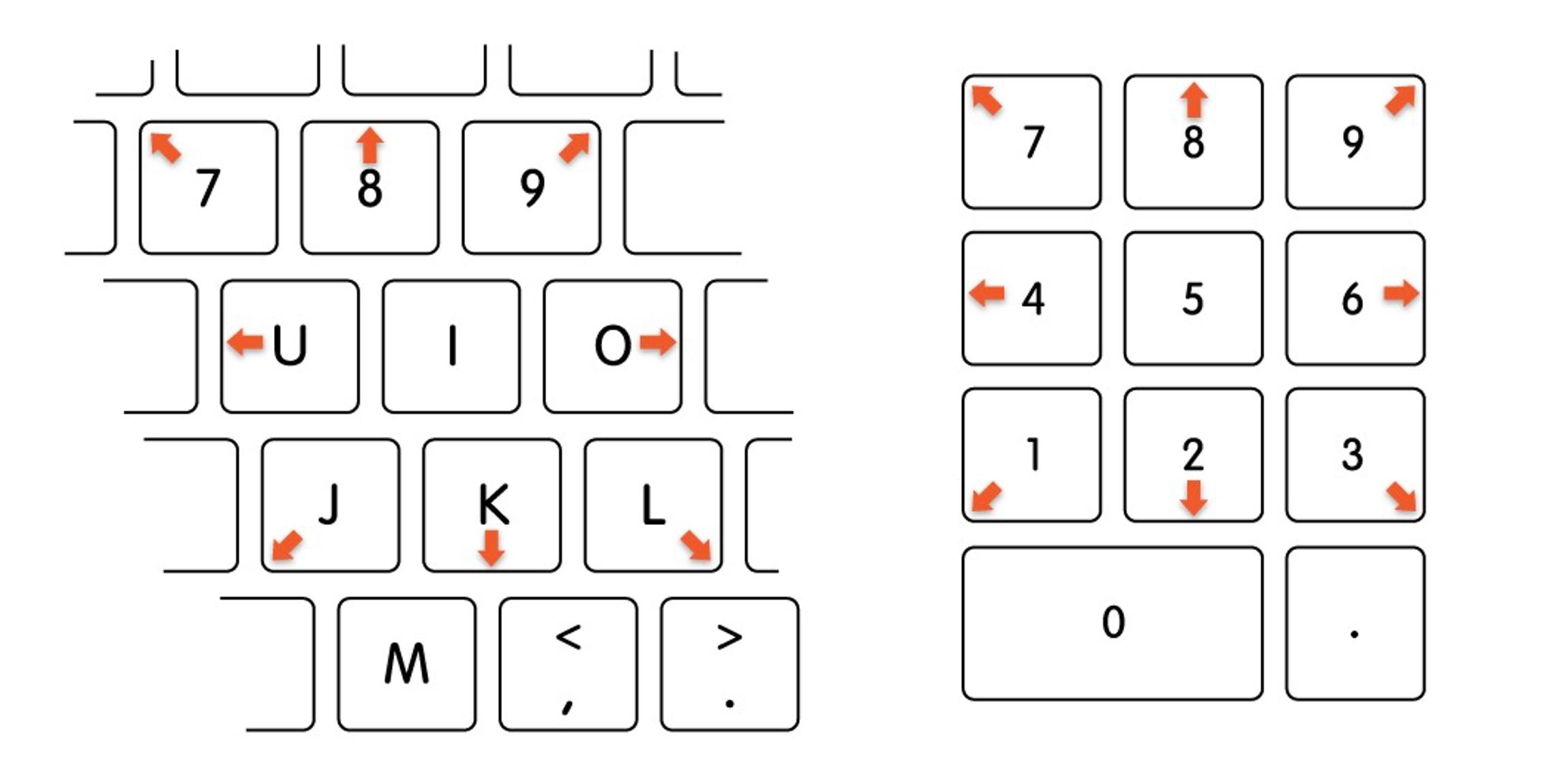 Включите управление стрелкой с клавиатуры