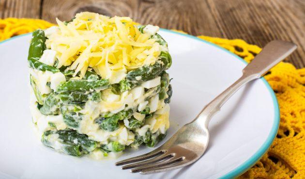 Салат с яйцами и зелёной фасолью