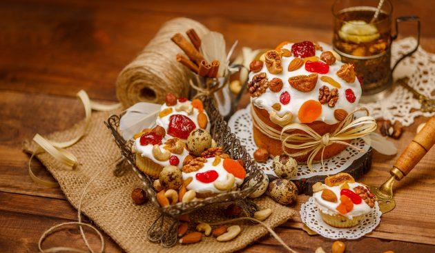 Пасхальные куличи с изюмом, цукатами и ромом