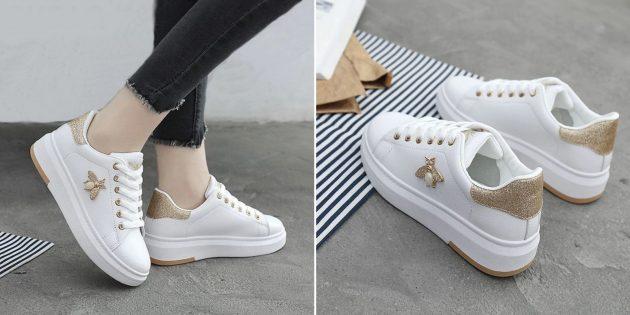 белые кроссовки с блестящими вставками
