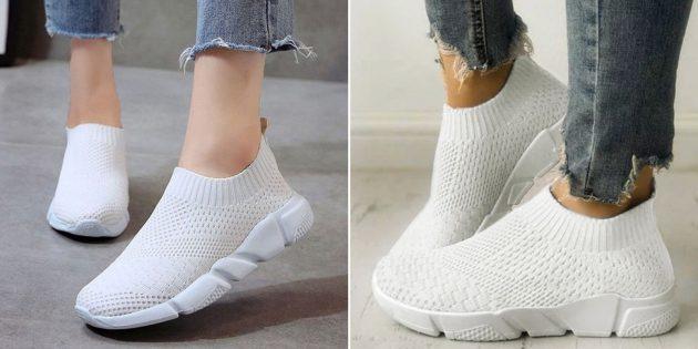 тканевые белые кроссовки