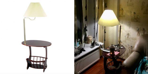 Напольная лампа со столиком