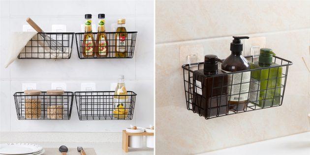 Недорогие товары для дома: металлические корзинки для кухни и ванной