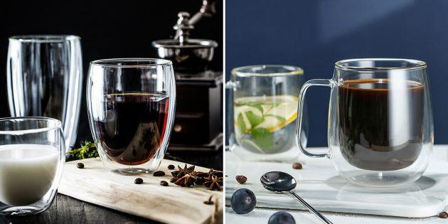 Недорогие товары для дома: стаканы и кружки с двойными стенками