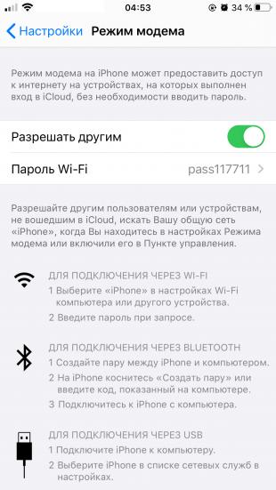 Как раздать интернет с iPhone: обратите внимание на имя сети и пароль