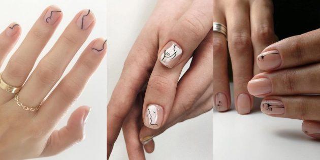 Идеи маникюра на короткие ногти: плавные минималистичные узоры