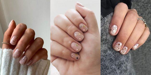 Дизайн на короткие ногти: блёстки
