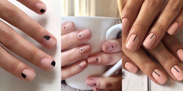 Маникюр на короткие ногти: геометрияна нюдовом фоне