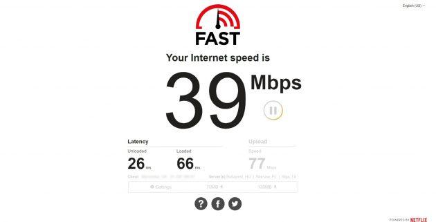 Проверка скорости интернета: Fast