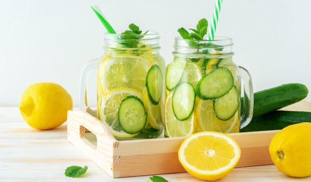Освежающая вода с огурцом, мятой и лимоном