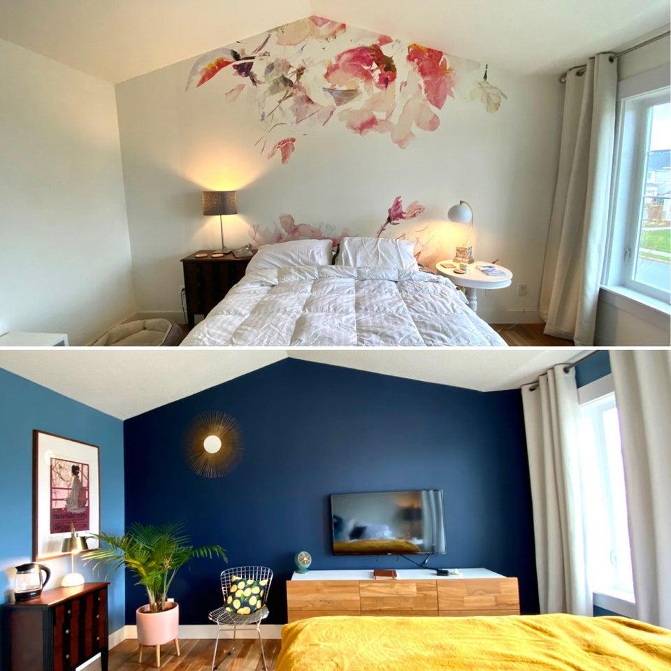 ремонт в спальне до и после