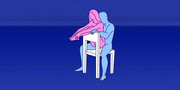 Секс сидя: «на спинке стула»