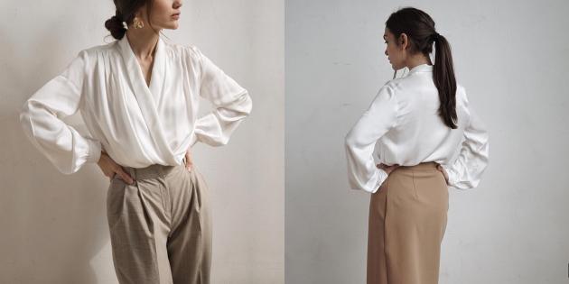 Летняя одежда: рубашка с драпировкой