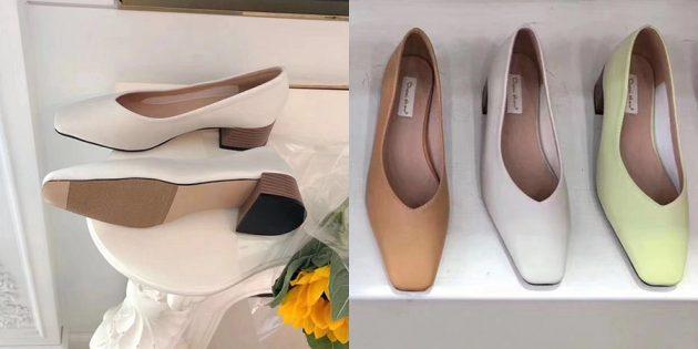 Летняя одежда: туфли-лодочки на низком каблуке