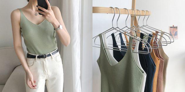 Летняя одежда: топ в рубчик