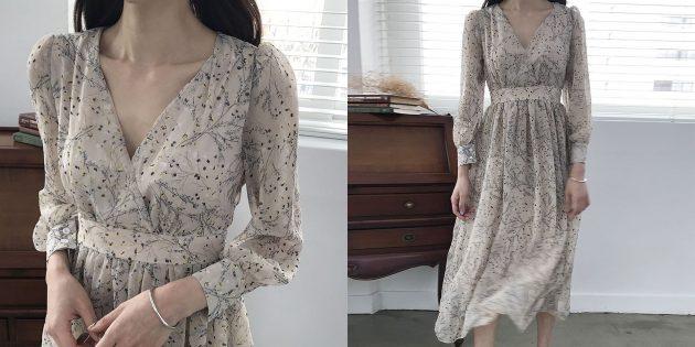 Летняя одежда: шифоновое платье-макси