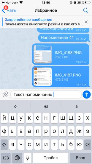 Возможности Telegram: введите текст