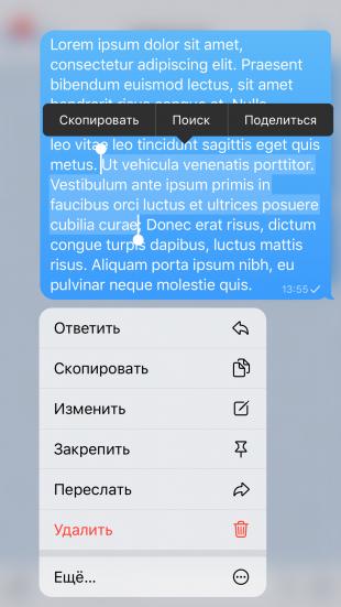 Фишки Telegram: скопируйте только часть сообщения