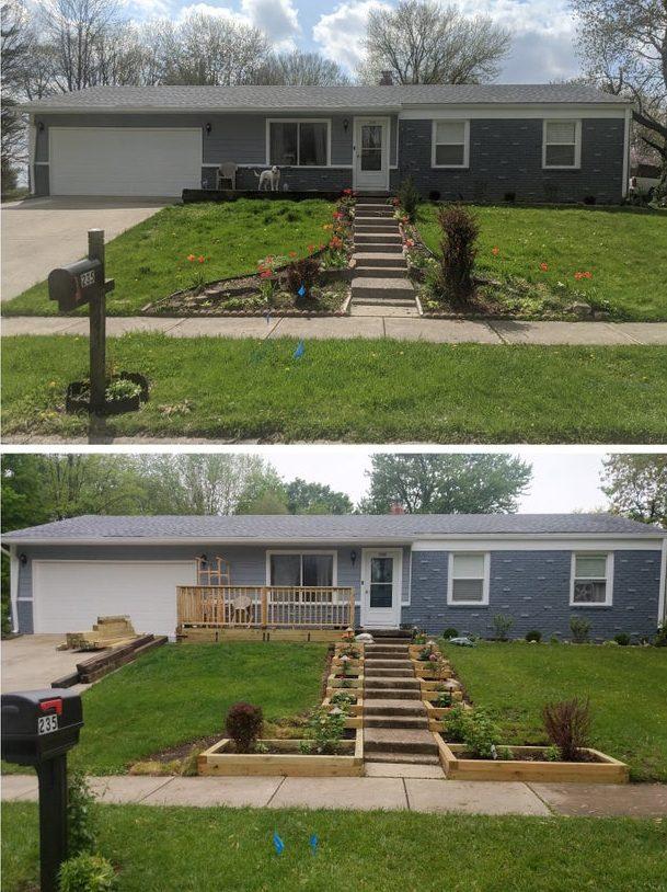 облагораживание двора до и после