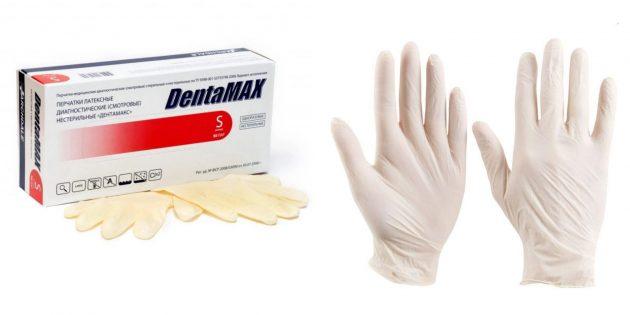 Латексные одноразовые перчатки
