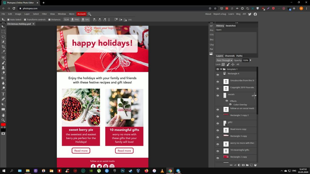 Как открыть файл PSD: Photopea
