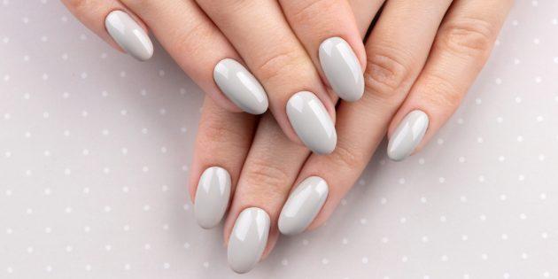 Овальная форма на длинных ногтях