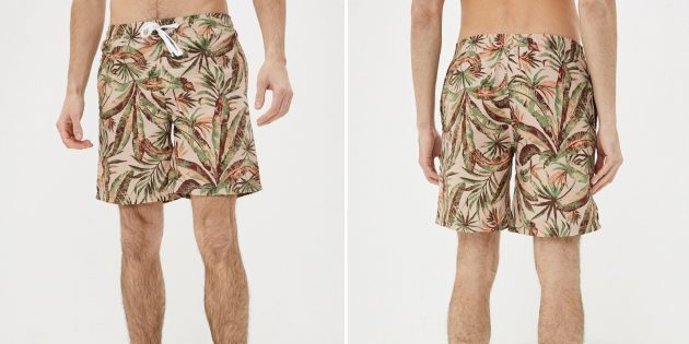 Пляжная одежда: шорты с растительным принтом