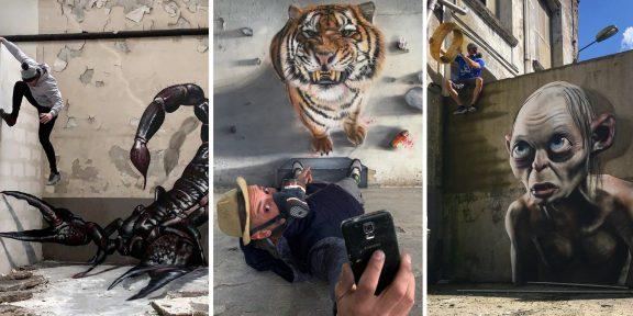 Уличный художник из Франции создаёт невероятно реалистичные рисунки, которые могут напугать