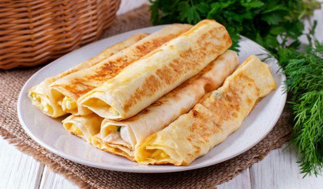 Трубочки из лаваша с картошкой и сыром