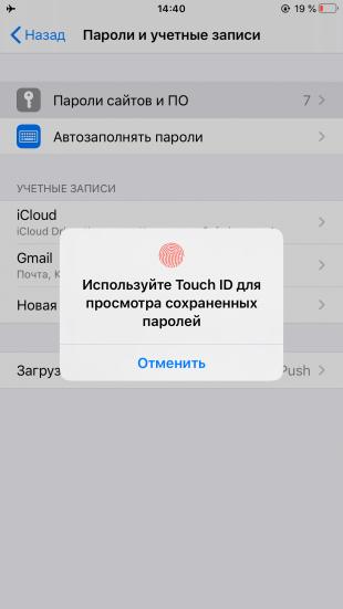 Как посмотреть сохранённые пароли на iPhone и iPad в Safari: используйте сканер отпечатка пальца, чтобы попасть в защищённое хранилище