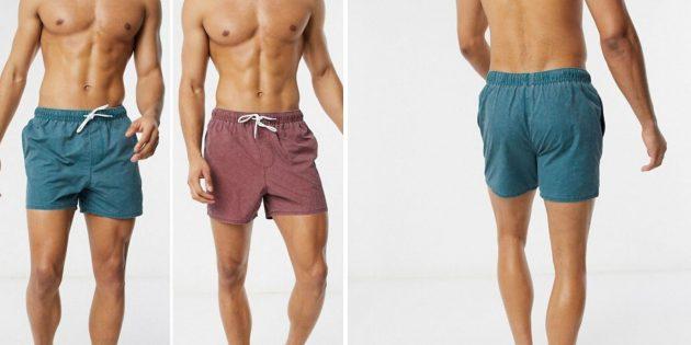 Пляжная одежда: однотонные плавательные шорты