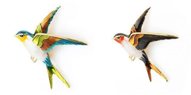 Стильные украшения: брошь в виде птицы