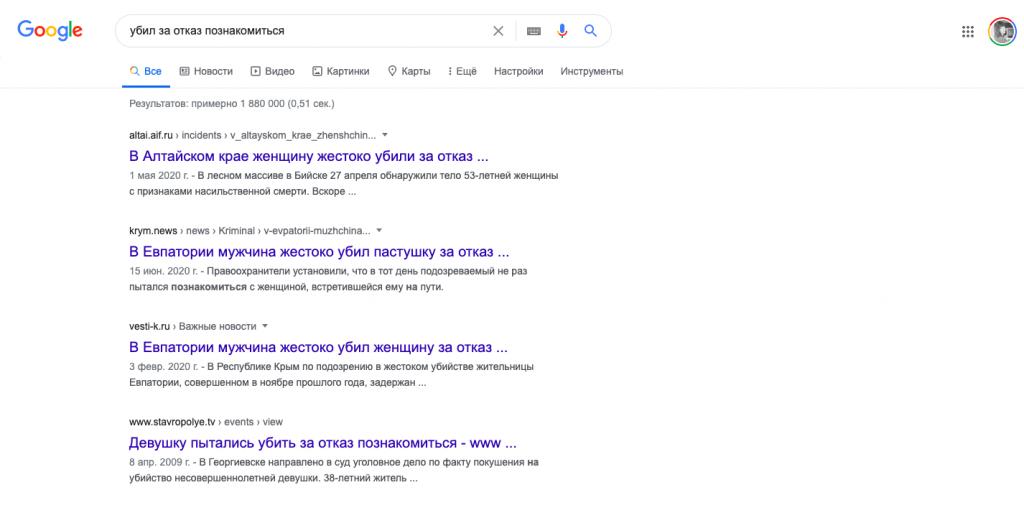 Кэтколлинг: вот что выдаёт Google по запросу «убил за отказ познакомиться»