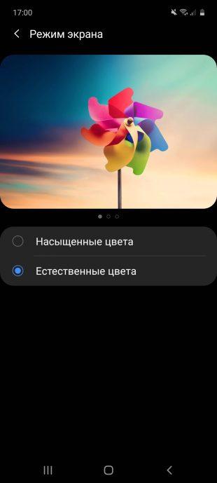 Samsung Galaxy A51: экран в режиме «Естественные цвета»