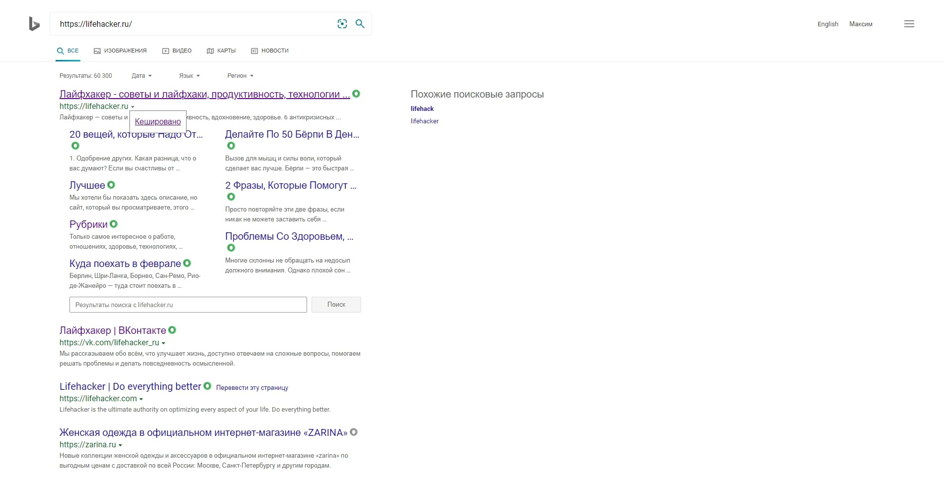 Удалённая страница: кеш Bing