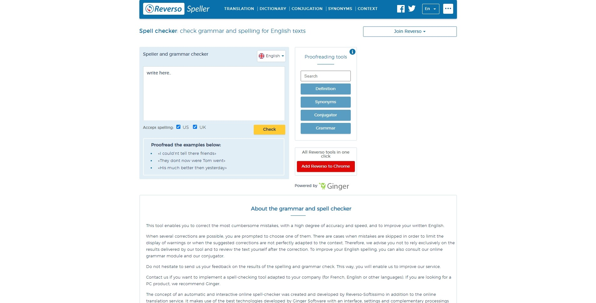 Проверка правописания онлайн: Reverso Speller