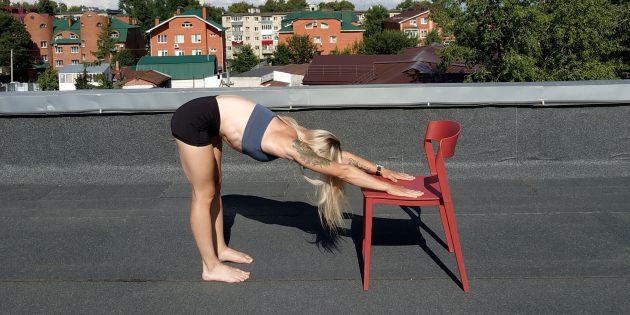 Простые упражнения йоги: наклон вперёд стоя