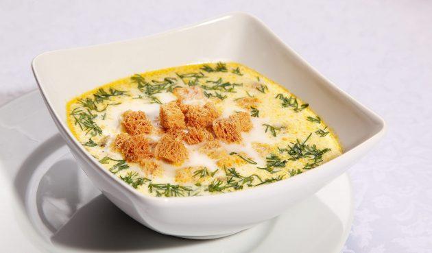 Сырный суп с патиссонами