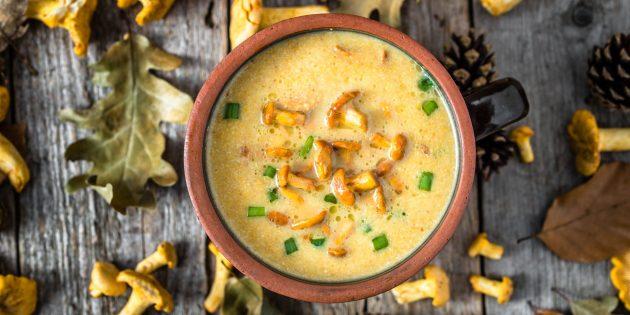 Сливочный суп с лисичками
