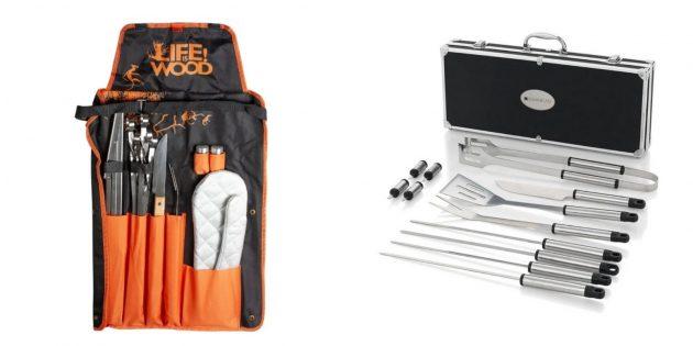 Подарки мужчине на день рождения: набор аксессуаров для шашлыка
