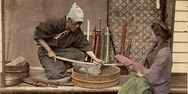 Самурайские мечи ковали из тысяч слоёв стали