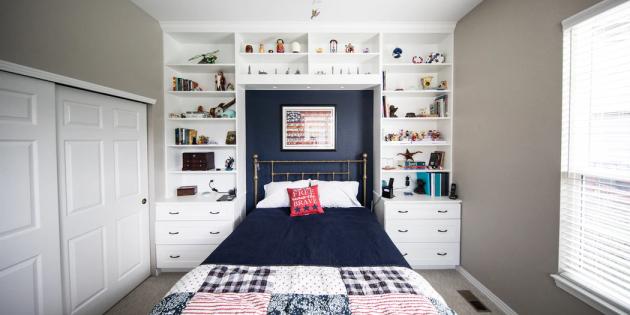 Ремонт спальни: не размещайте тяжёлые полки над кроватью