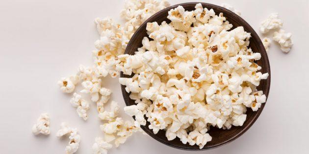 В каких продуктах содержится много клетчатки: попкорн