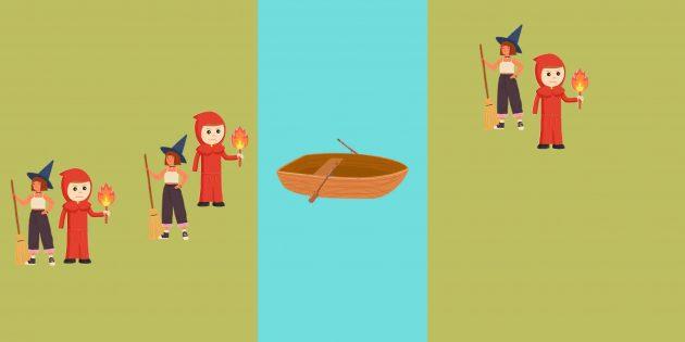 Логическая задача: инквизитор и ведьма плывут с левой стороны реки на правую