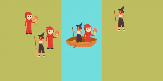 Логическая задача: инквизитор отвозит и высаживает ведьму, но сам на берег не сходит,