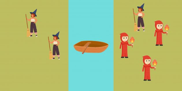 Логическая задача: на правую сторону отправляются два инквизитора