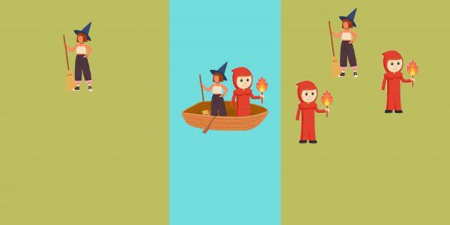 Логическая задача: не выходя из лодки, инквизитор забирает с собой одну ведьму