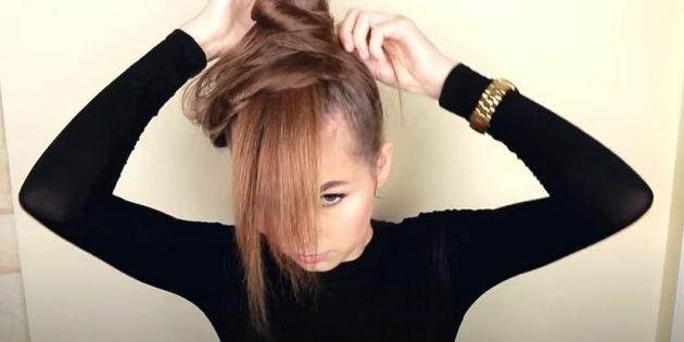 Причёски для круглого лица: оставшиеся над резинкой волосы сверните в пучок