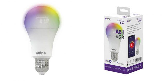 Умные лампочки: Wi-Fi Hiper IoT A61RGB